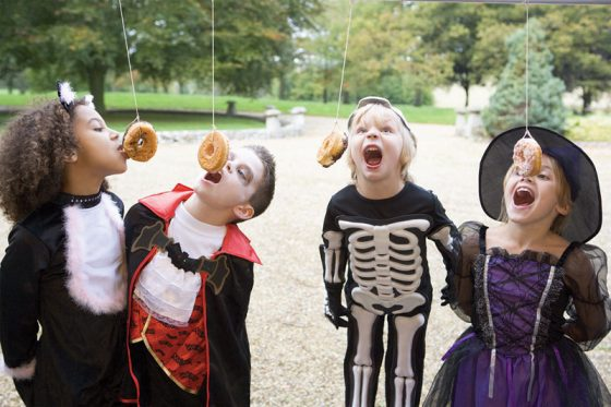 Halloween Party Games for kids donut on a string