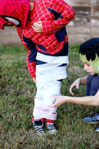 Mummy sack race Halloween