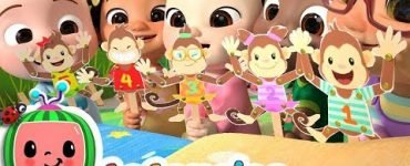 Nursery rhymes and kids songs five little monkeys jumping on the bed