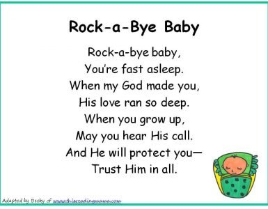 Rock A Bye Baby Nursery Rhyme With Lyrics